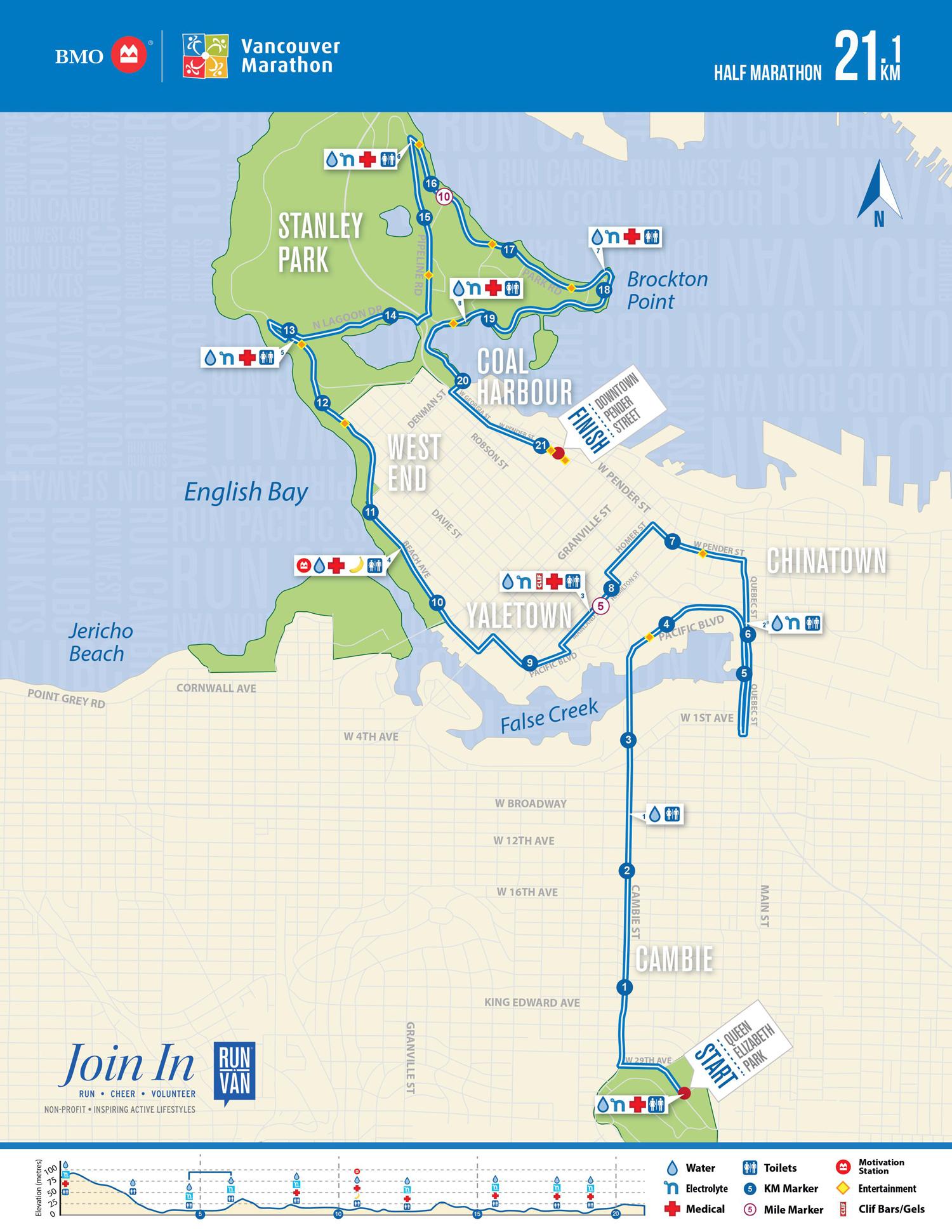 BMO Vancouver Half Marathon Course Map