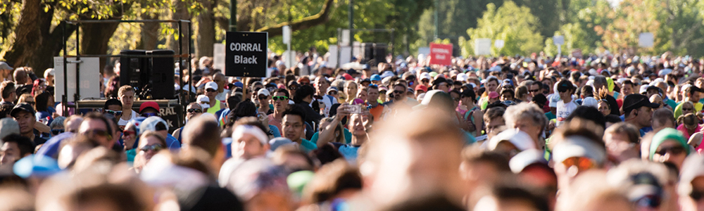 Welcoming the world. Runners from 50+ countries now annually line up at the BMO Vancouver Marathon Start Line! Photo: Jeff Bell / RUNVAN®
