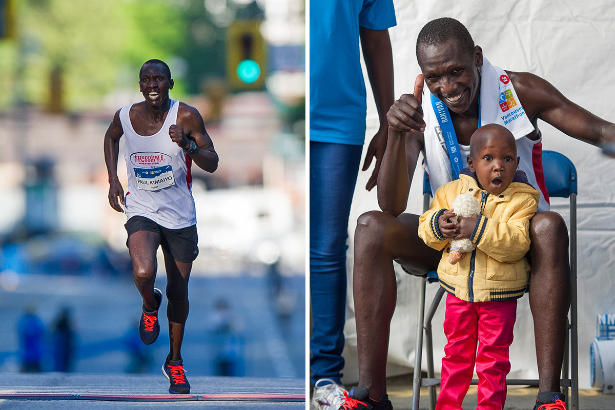 Little Lynn. Paul Kimugul, the event's Half Marathon record holder with a time of 1:02:36, celebrates his latest win with daughter Lynn, named after our Elite Athlete Coordinator, former Olympian Lynn Kanuka. Too cute! Photo: Richard Lam / RUNVAN®