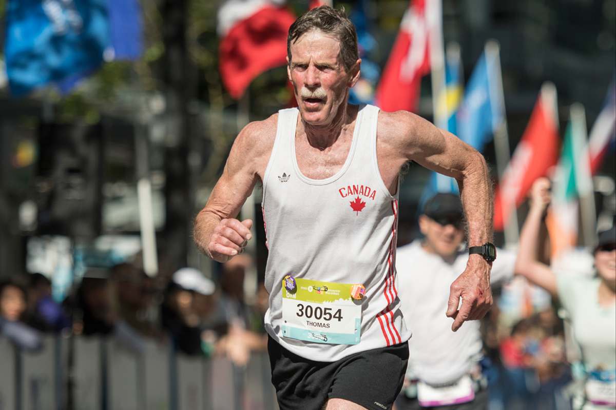 Living Legend. Tom Howard, the first-ever champion of the Vancouver Marathon in 1972, '73 and '74, finishes first in his M65-68 age category: http://runvan.org/legacy-since-1972/ Photo: Christopher Morris / RUNVAN®