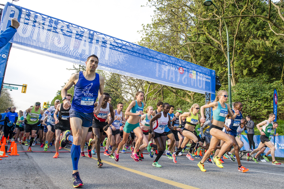 At the start of BMO Vancouver Marathon. May 7, 2017. ©2017 All Rights Reserved.