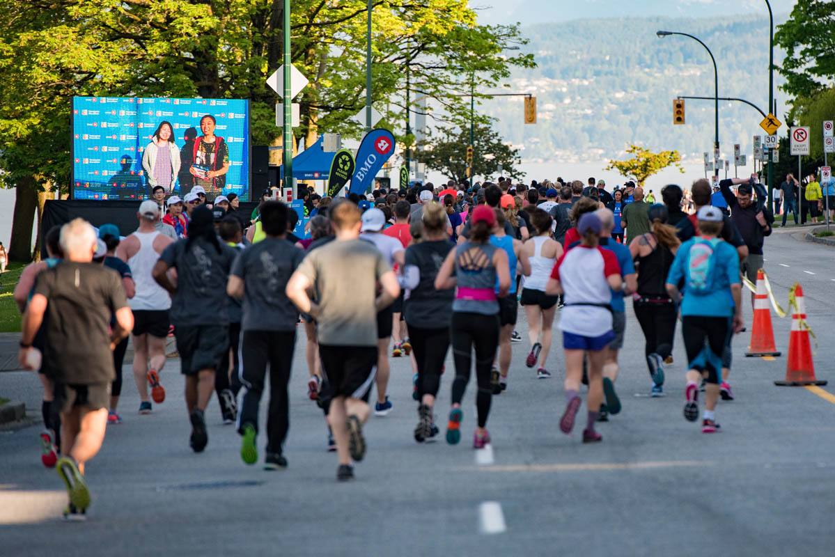 The BMO Cheer Screen played video messages of encouragement on course. Photo: Ben Owens / RUNVAN®