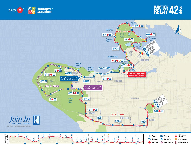 BMO Vancouver Marathon Relay Map